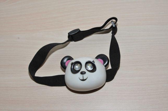 Детский налобный фонарик Панда