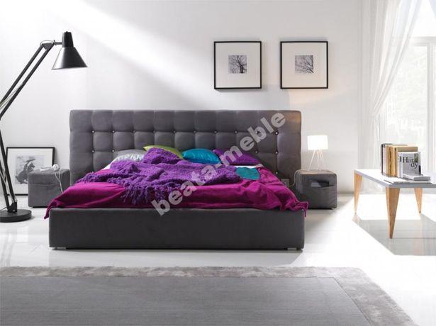 Promocja -200zł Pikowane łóżko ROMA III z szerokim zagłowiem + 2 pufy