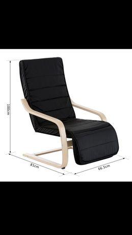 Fotel z podnóżkiem czarny