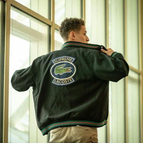 Бомбер Supreme x LACOSTE Wool Varsity Jacket оригинал куртка