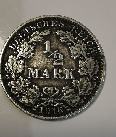 Moneta 1/2 Mark 1916 rok