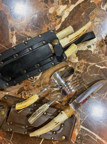 Крутой мужской набор для отдыха! Вилка, ложка, нож!