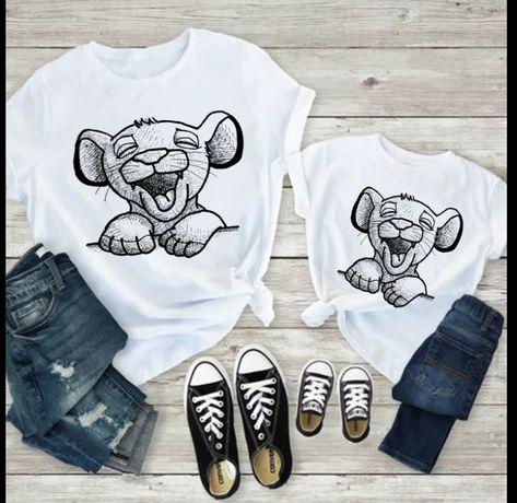 Koszulka bluzka t-shirt Disney postacie Simba krol lew mama i syn cork