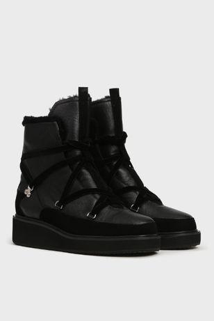 СРОЧНО!PREPPY Женские черные кожаные ботинки с натур.мехом.