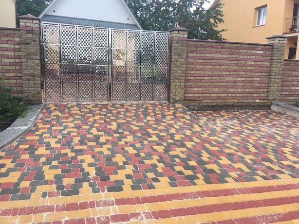 Укладка тротуарной плитки, поребрика, бордюр, отливов Александрия