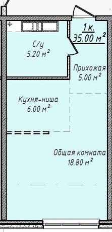1-комнатная квартира. 35 м2. РАССРОЧКА! Приморский район. ЖК Мандарин