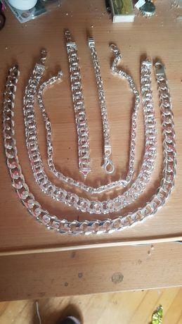 Srebrne łańcuszki bransoletki,komplety