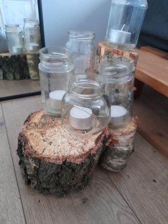 Drewniany świecznik