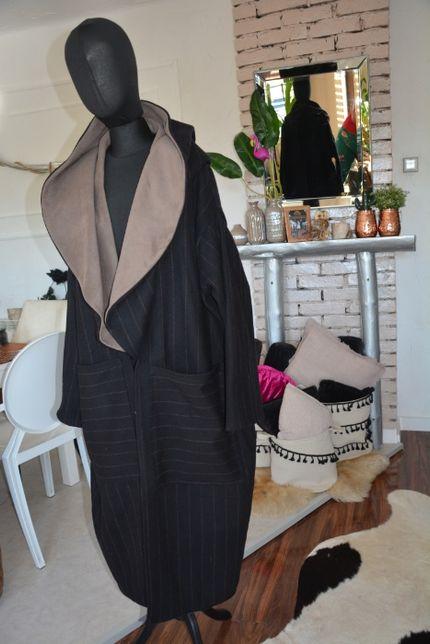XXXL 42-48-54 Płaszcz wełna wełniany czarny i beż prążek z kapturem
