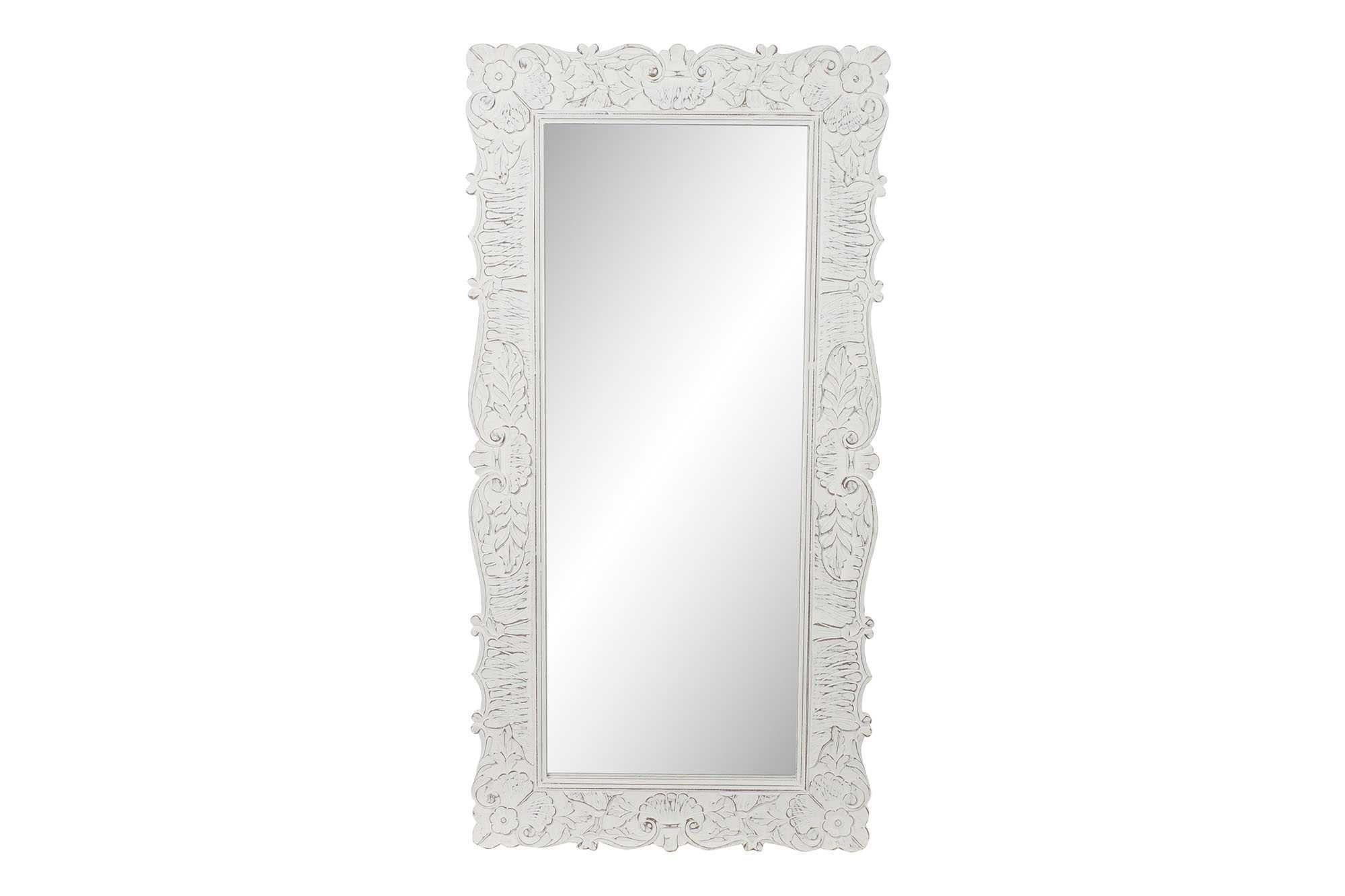 Espelho oriental decape branco de madeira 183X3X91cm By Arcoazul