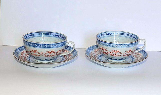 """Conjunto de chávenas de chá em porcelana """"bago de arroz"""""""