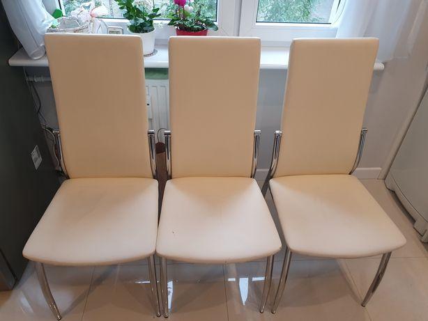 Krzesło 3 szt ecru eco skóra