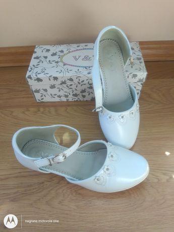 Buty białe komunijne 37 wkl 23,5 cm