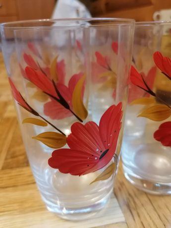 Zestaw szklanek - prl vintage lata 80 szklanki w kwiaty