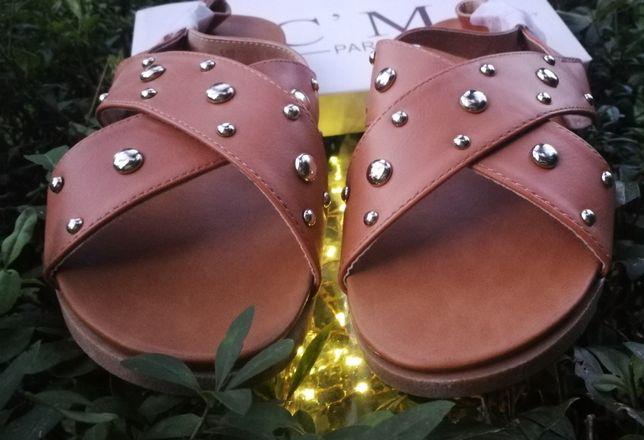 Sandałki damskie brązowe, sandały C'M Paris 39 Brąz 25,5cm Nowe