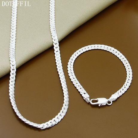 Мужской серебряный набор цепь + браслет 925 проба