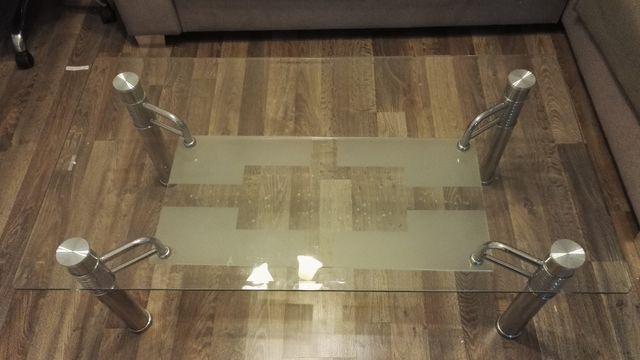 Stół Stolik Ława szklano metalowa 120x65x44