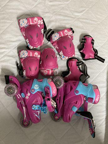 Patins de crianca regulaveis com proteções e capacete