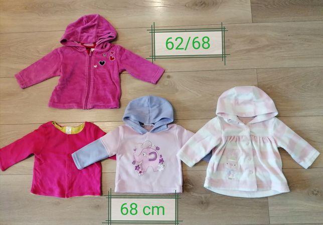 Bluzy dziewczęce/pluszowe 7 szt. rozmiar 62-68
