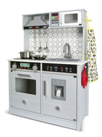 Drewniana elektroniczna kuchnia dla dzieci Grey Modern 102/246242