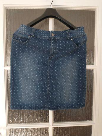 Spódniczka mini jeansowa kropeczki L-XL