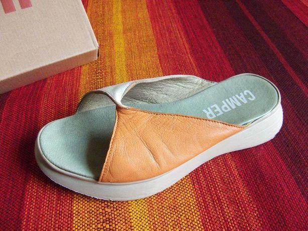 CAMPER - sandálias em pele branca / laranja (36) MUITO ORIGINAIS!