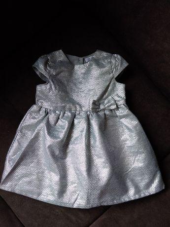 Piękna srebrna sukienka dla dziewczynki r.80