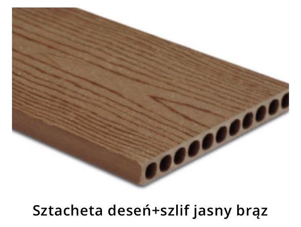 Sztacheta kompozytowa Jasny Brąz deseń szlif 1,8m. Od ręki