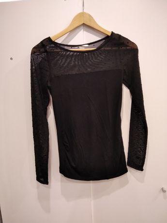 Czarna elegancka bluzka ciążowa roz XS długi rękaw H&M MAMA