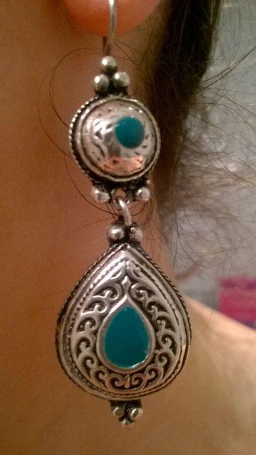 Srebrne, oryginalne, marokańskie długie kolczyki NOWE