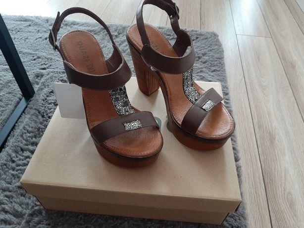 Quazi sandałki sandały buty letnie obcas NOWE skóra