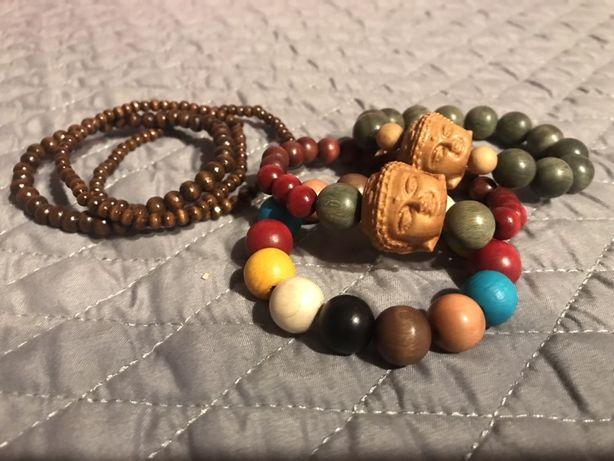 Drewniany komplet bransoletek z Buddą
