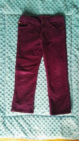 Spodnie sztruksy bordowe, fioletowe 110 stan idealny