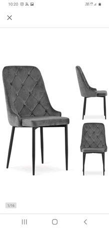 Nowe krzesła szary welur