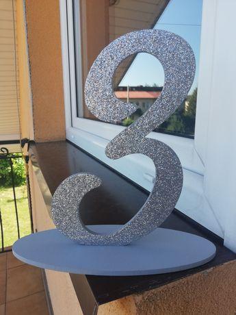 Brokatowe cyfry na stół wesele 1-4 +gratis