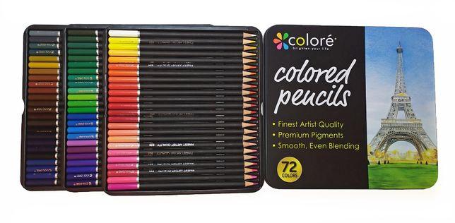 Цветные карандаши 72 цвета, набор карандашей в металлическом пенале