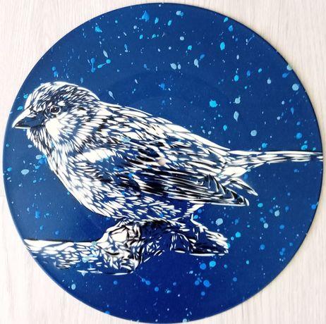 Pássaro pintura original em disco de vinil