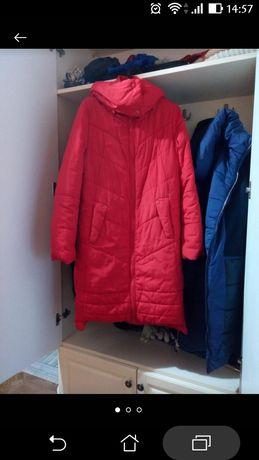 Пуховик з капішоном,куртка червона,плащ