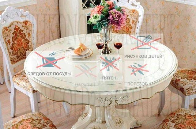Защитная ПВХ пленка на стол мягкое стекло 2 и 2,5 мм Сертификат