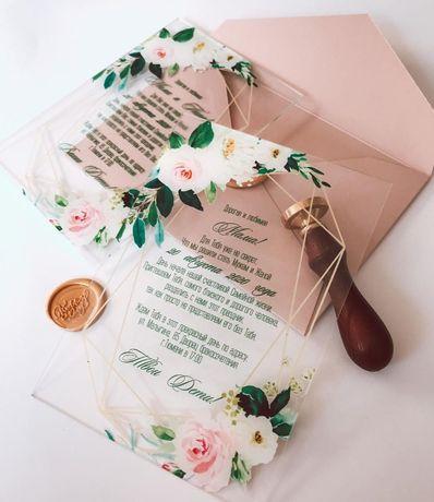 Прозрачные свадебные приглашение на акриловой основе