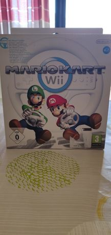 Mário Kart para a Nintendo Wii. Pacote inclui o volante.