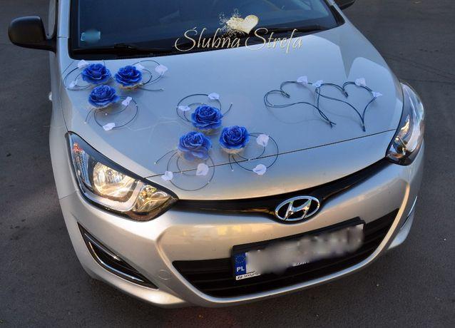 Dekoracja na samochód chabrowy, chabrowa dekoracja na auto