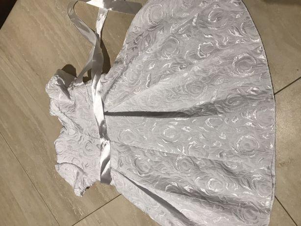 Śliczna śnieżnobiała sukienka do chrztu