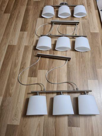 1 lampa podsufitowa i 2 zwisające srebrna i matowe białe szkło