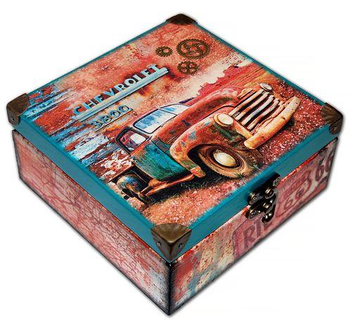 SZKATUŁKA drewniane pudełko ROUTE 66 Chevrolet