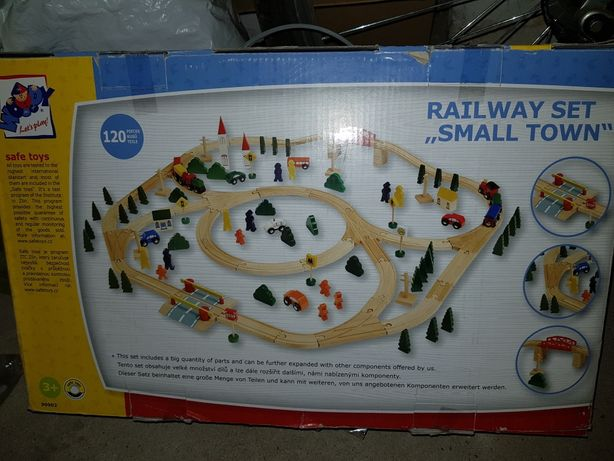 Mega kolejka drewniana Woody 120 railway set Small town