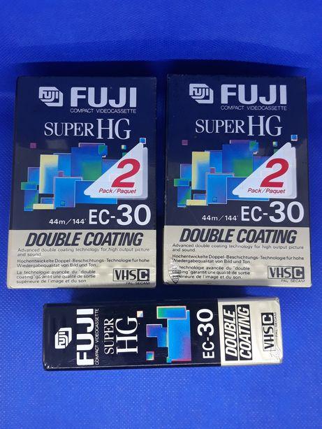 Kasety Fuji Super HG EC-30 SHG VHSC Double Coating 3 sztuki.