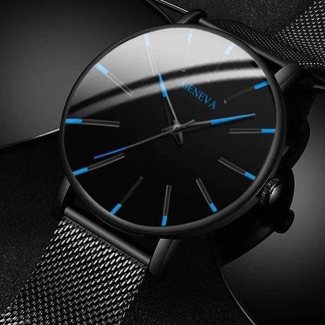 Relógios GENEVA (Preto e Azul/Laranja) Homem - Relógio Luxury Quartzo