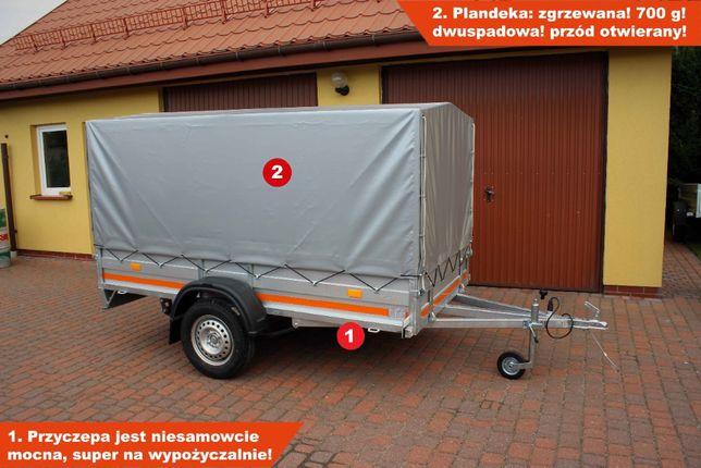 Przyczepka samochodowa z plandeką Syland 266x134 na resorach ŻUK Nowa