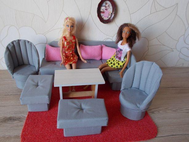 mebelki dla lalek typu barbie narożnik sofa fotele stół pościel
